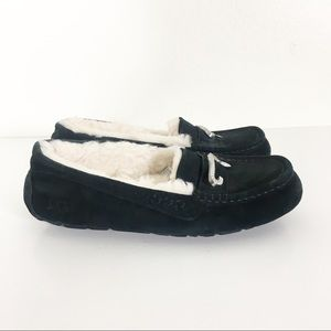 UGG Black Leather Suede Fur Lined Slippers
